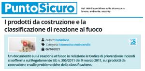 PuntoSicuro - I prodotti da costruzione e la classificazione di reazione al fuoco