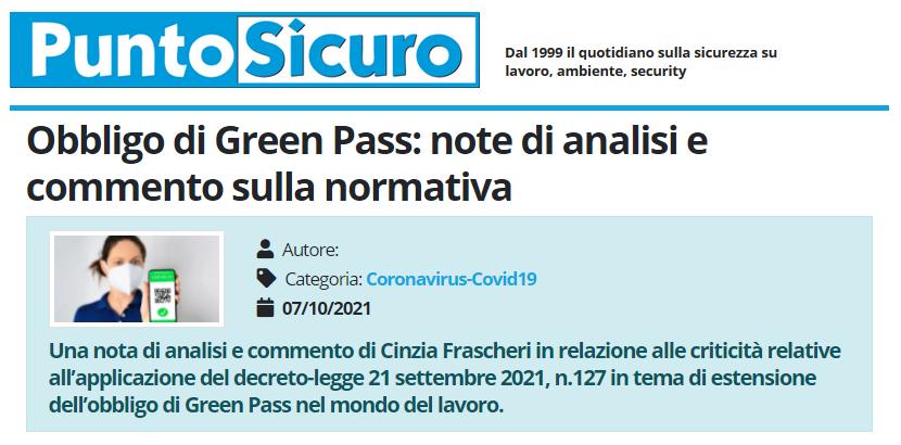 PuntoSicuro - Obbligo di Green Pass: note di analisi e commento sulla normativa