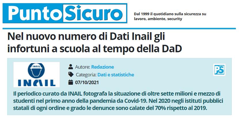 PuntoSicuro - Nel nuovo numero di Dati Inail gli infortuni a scuola al tempo della DaD