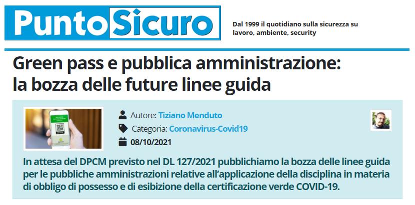 PuntoSicuro - Green pass e pubblica amministrazione: la bozza delle future linee guida