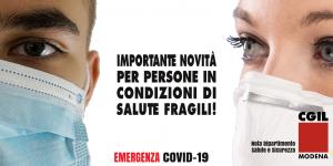 Dipartimento Salute e Sicurezza Cgil Modena - Aggiornamento per il lavoro di persone in condizioni di salute fragile - Legge n. 133 del 24/9/2021