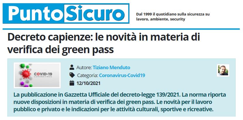 PuntoSicuro - Decreto capienze: le novità in materia di verifica dei green pass