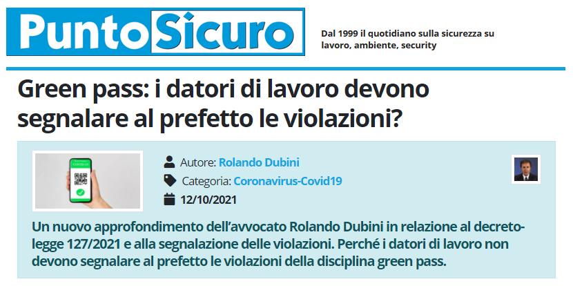 PuntoSicuro - Green pass: i datori di lavoro devono segnalare al prefetto le violazioni?