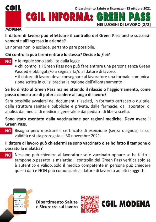 Cgil Informa: Green Pass nei luoghi di lavoro (15 ottobre 2021)