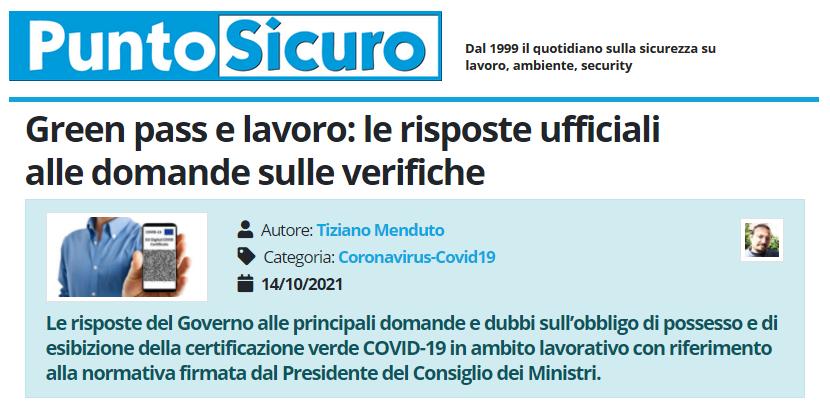 PuntoSicuro - Green pass e lavoro: le risposte ufficiali alle domande sulle verifiche