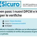 PuntoSicuro - Obbligo green pass: i nuovi DPCM e le indicazioni per le verifiche