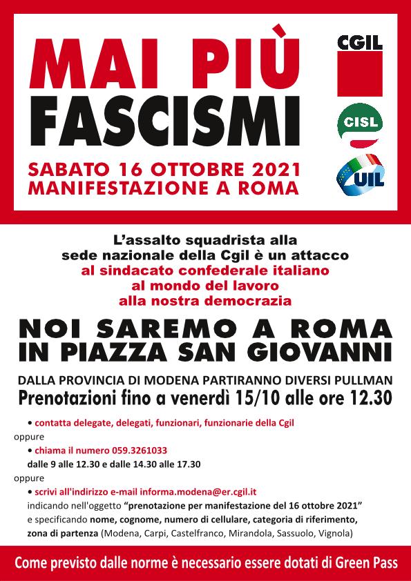 Mai più fascismi - Manifestazione nazionale unitaria a Roma