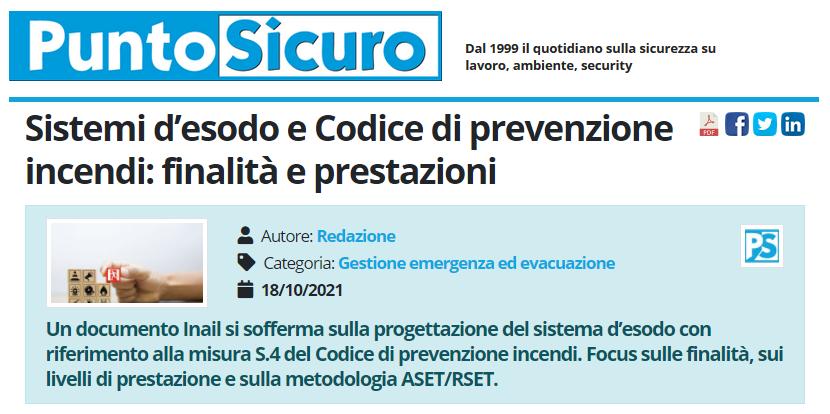 PuntoSicuro - Sistemi d'esodo e Codice di prevenzione incendi: finalità e prestazioni