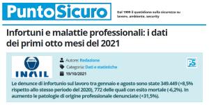 PuntoSicuro - Infortuni e malattie professionali: i dati dei primi otto mesi del 2021