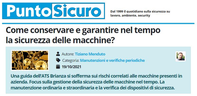 PuntoSicuro - Come conservare e garantire nel tempo la sicurezza delle macchine?