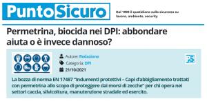 PuntoSicuro - Permetrina, biocida nei DPI: abbondare aiuta o è invece dannoso?