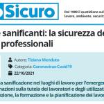 PuntoSicuro - COVID-19 e sanificanti: la sicurezza degli utilizzatori professionali