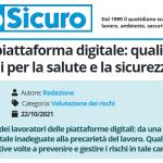 PuntoSicuro - Lavoro su piattaforma digitale: quali sono i rischi per la salute e la sicurezza