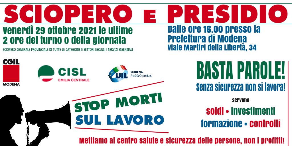 Stop morti sul lavoro - Sciopero e presidio davanti alla prefettura di Modena - 29/10/2021