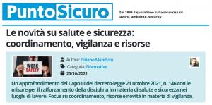 PuntoSicuro - Le novità su salute e sicurezza: coordinamento, vigilanza e risorse