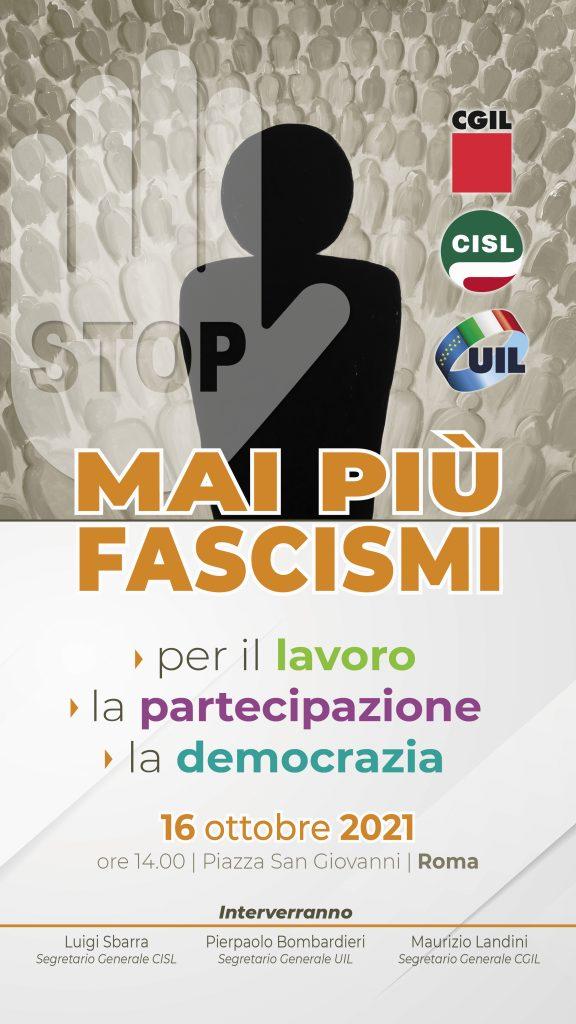 Mai piu' fascismi, manifestazione 16.10.21